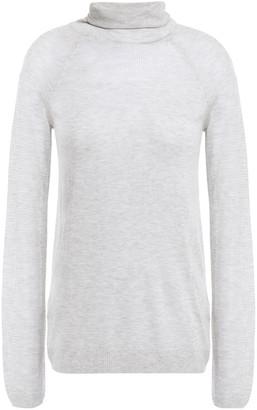J Brand Paneled Open-knit Turtleneck Top