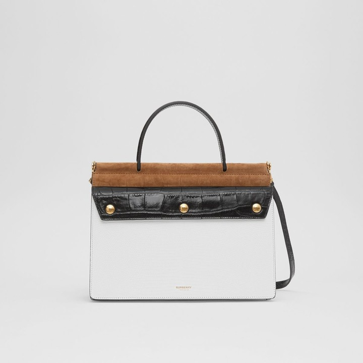 Burberry Small Deerskin Title Bag with Pocket Detail