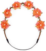 Carole Coral Flower & Crystal Headwrap