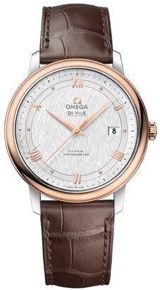 Omega Rose Gold and Stainless Steel De Ville Prestige Watch 40mm