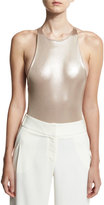 Halston Anjelica Metallic Jersey Bodysuit, Champagne