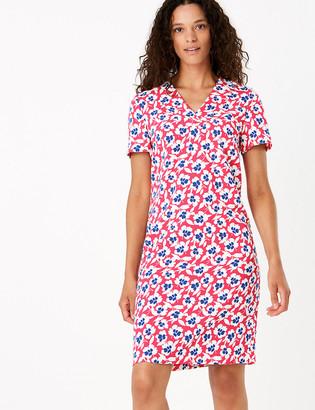 Marks and Spencer Crepe Floral V-Neck Knee Length Shift Dress
