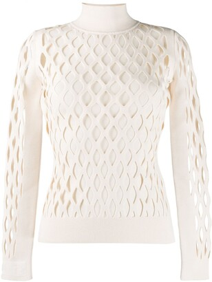 Fendi Open-Knit High-Neck Jumper
