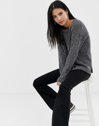 Brave Soul chenille tinsel jumper in charcoal