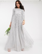 Maya all over delicate sequin long sleeve maxi dress in silver