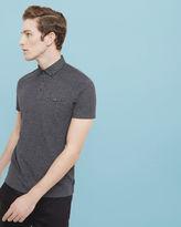 RAFFA Geo print collar polo shirt