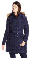 Tommy Hilfiger Women's Down Coat with Faux Fur-Trim Hood and Striped Belt