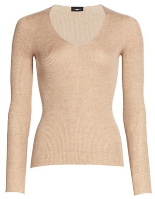 Akris Silk & Cotton V-Neck Sweater