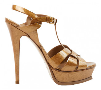 Saint Laurent Tribute Gold Patent leather Sandals