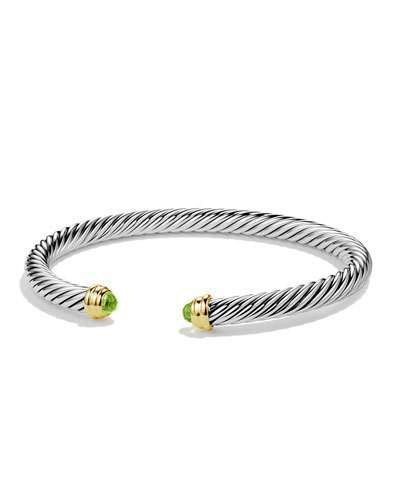 David Yurman Cable Classics Bracelet with Peridot and Gold