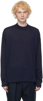 Jil Sander Indigo Wool Crewneck Sweater
