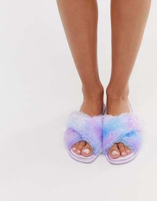 Asos Design DESIGN Zippy cross strap satin slippers in lilac ombre fur-Purple