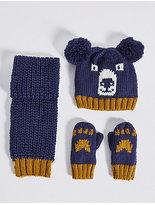 Marks and Spencer Kids' Pom-pom Hat, Scarf & Mittens Set