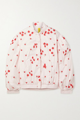 MONCLER GENIUS + 4 Simone Rocha Persea Appliqued Embroidered Shell Down Bomber Jacket - Pastel pink