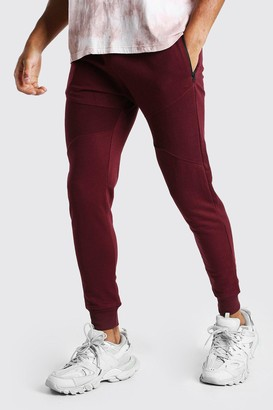 boohoo Mens Red Skinny Fit Panelled Jogger With Side Zips, Red
