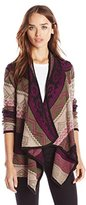 Design History Women's Mixed Graphic Stitch Cozy Cardigan