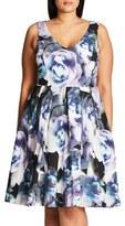 City Chic 'Luminous' Floral Print Fit & Flare Dress (Plus Size)