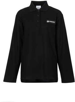 Burberry Long-sleeve Vintage Check Panel Oversized Polo Shirt
