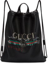 Gucci Black Coco Capitán Edition fake Gucci Drawstring Backpack