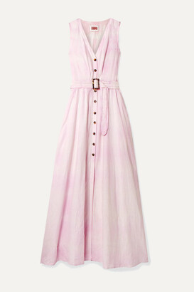 Solid & Striped Belted Tie-dyed Linen Maxi Dress - Pastel pink