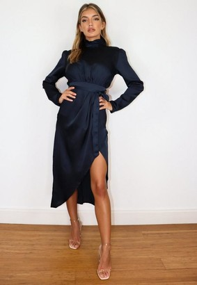 Missguided Navy Satin High Neck Wrap Midi Dress