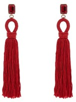 Oscar de la Renta Crystal-embellished silk-tassel long earrings