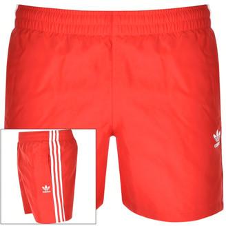 adidas 3 Stripes Swim Shorts Red