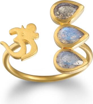 Satya Jewelry Labradorite Gold Om Adjustable Ring