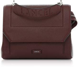 Lancel Black Currant Leather Ninon Medium Flap Bag