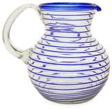 Mexican Handblown Recycled Glass Blue Stripe Pitcher, 'Blue Spiral'