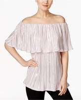 MSK Metallic Crinkled Off-The-Shoulder Top