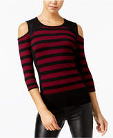 BCX Juniors' Cold-Shoulder Striped Sweater