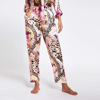 River Island Womens Pink printed loose fit satin pyjama trousers