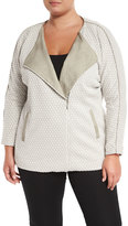Tart Leanne Quilted Asymmetric Jacket, Taupe, Plus Size