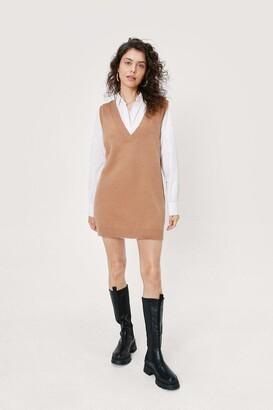 Nasty Gal Womens V Back Soon Knitted Mini Dress - Camel