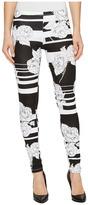 Hue Striped Hydrangea Cotton Leggings Women's Casual Pants