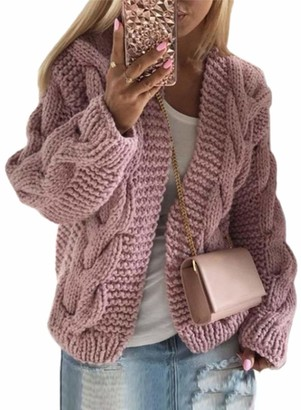 CORAFRITZ Womens Long Sleeve Cable Knitwear Sweater Open Front Chunky Cardigan Oversized Winter Warm Outerwear Pink