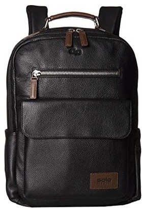 Solo New York Kilbourn Leather Backpack (Black/Brown Accent) Backpack Bags