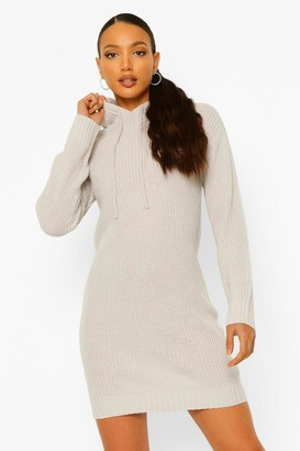 boohoo Tall Knitted Hooded Sweat Dress
