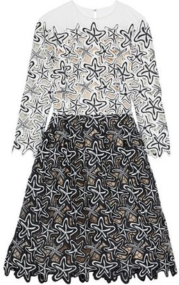 Oscar de la Renta Tulle-paneled Two-tone Guipure Lace Dress