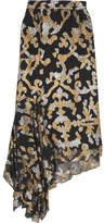 Peter Pilotto Asymmetric Metallic Fil Coupé Silk-blend Skirt - Black