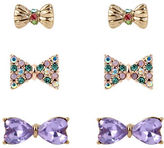 Betsey Johnson Three-Piece Mixed Bow Stud Earrings