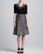 Carolina Herrera Floral-Embroidered Jacquard Skirt
