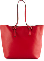 Neiman Marcus Knots Faux-Leather Tote Bag, Red/Black