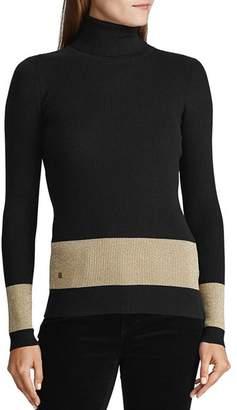 Ralph Lauren Metallic-Stripe Turtleneck Sweater
