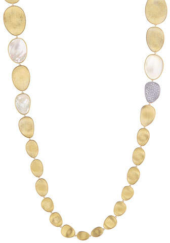 """Marco Bicego Lunaria Long Mother-of-Pearl Station Necklace with Diamonds, 39"""""""