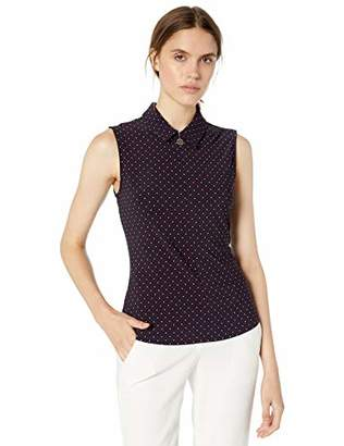 Tommy Hilfiger Women's Dot Printed Logo Zip Sleeveless Knit Top