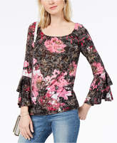 INC International Concepts I.n.c. Floral-Print Flounce Sleeve Burnout Peasant Top