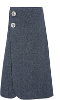 Marni Wraparound Cotton Skirt With Jeweled Buttons