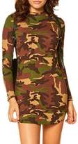 Suvotimo Women High Neck Long Sleeve Camouflage Bodycon Club Mini Dress L